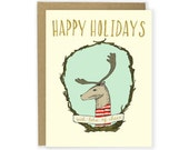 Christmas Card - Happy Holidays with Lots of Cheer Reindeer Card