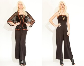 VIntage 60s 60s METALLIC Palazzo Jumpsuit // Maxi Romper // Black Red Sheer