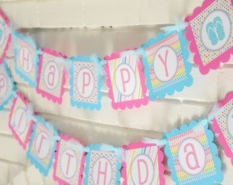 Flip flops party, pool party banner, summer party
