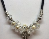 Crystal and Pearl Cross Necklace