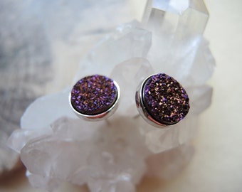 Plum Druzy Studs, 10mm Sterling Silver Bezel Studs, Druzy Earrings, Druzy Stone Stud Earrings, Druzy Jewelry Gifts For Her, Silver Studs