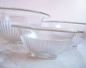 Nesting Bowl Set Depression Glass Clear Hazel Atlas Mixing / Serving Bowls Set of 3 Federal Glass Ribbed Rolled Rim