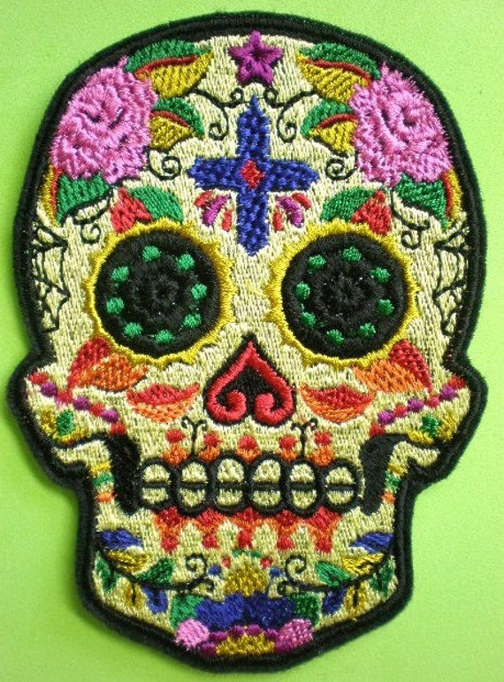 Embroidered Sugar Skull Iron On Applique Patch Day of the