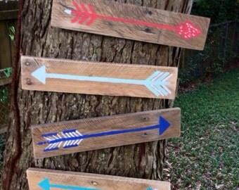 Reclaimed Wood Rustic Wall Decor - Handpainted Arrows