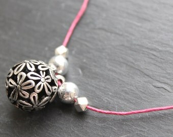 SALE Flower orb necklace. Pink surf and summer necklace with beads