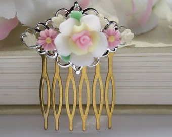 SALE Filigree Rose Garden Hair Comb, Rose and Daisy Romantic Handmade Hair Piece, Vintage Pink White Yellow