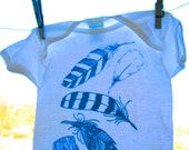 Feather Family Onesie 18 months | Hand Printed | Hand Drawn | Original Feather Illustration | Screen Printed Baby Clothes | Cool Baby