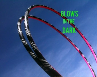 Zebra GLOW in the DARK Mini Arm Hula Hoops - Poi Style two twins double workout