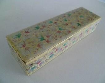 French Chinoiserie Pencil Pen Box Plumier Antique / Vintage Paper Mache Hand Painted Design