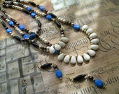 NAIKA Long Beaded Multi Rows Strands Necklace and Earrings Jewelry Set in Royal Blue White Black Brown