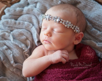 Crystal Jewel Luxe Headband -  Genevieve - Girls Newborn Infant Child Toddler Teen Adult