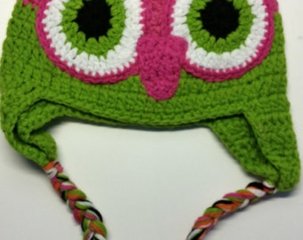 Pink / Lime Green Owl Crochet Hat