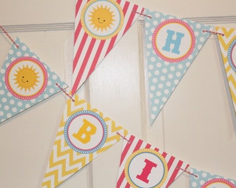 LITTLE MISS SUNSHINE Happy Birthday or Baby Shower Banner - Party Packs Available