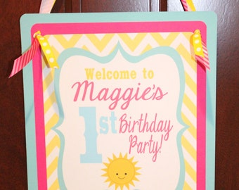 LITTLE MISS SUNSHINE Happy Birthday or Baby Shower Door or Welcome Sign Pink Yellow - Party Packs Available