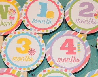 SWEET SHOPPE Party Happy Birthday Party 1st Birthday Photo Clips Banner Newborn - 1 year
