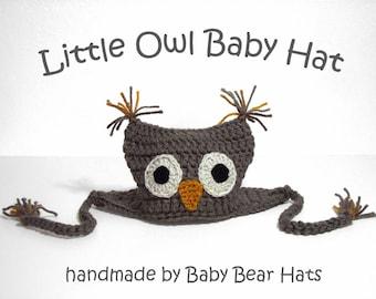 Little Owl Baby Hat, Newborn Earflap Hat