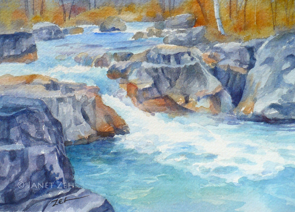 Watercolor Landscape Original 5x7 Painting Marble Canyon River Art by Janet Zeh