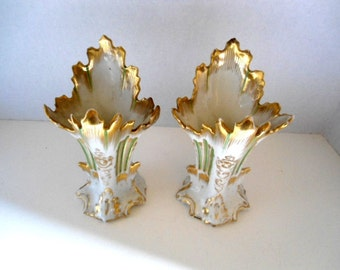 Italianate Vases Pair Antique White with Green Hints and Gold Trim  / Fluted Fountain Design Hollywood Regency Mid Century Collectibles