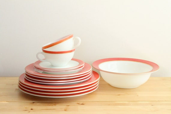 RESERVED: Pink Pyrex Dishes - Vintage 1950s Coral or Flamingo Pink Milkglass Dinnerware Set with Serving Bowl (13 piece set)