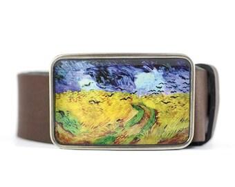 Van Gogh Belt Buckle, Wheat Field Belt Buckle, Fine Art Belt Buckle, resin belt buckle