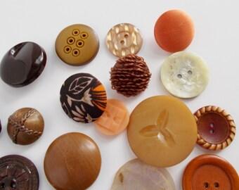 Vintage Button Lot 27 Buttons Small Medium Large Neutral Tones