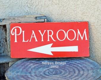 PLAYROOM Sign - Kids Room - You Choose Direction