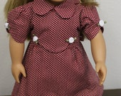 "18"" Doll Clothes -American Girl Doll -Our Generation Doll  - Doll Vintage 1930's  Maroon Dress with Tiny White Polka Dots for 18"" doll"