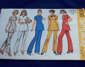 """Vintage 1972 Simplicity Misses Tunic With 3 Fronts and Pants Size 10 Bust 32 1/2"""" Waist 25"""""""