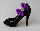 Handmade bow shoe clips with rhinestone center bridal shoe clips wedding accessories in purple