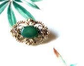 Victorian Style Jade Green Gold Floral and Scroll Brooch, Ornate Open Metal Soft Green and Gold Pin