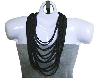 FABRIC NECKLACE, Black, T-shirt Scarf, Upcycled T-shirt Fabric. Ready to Ship