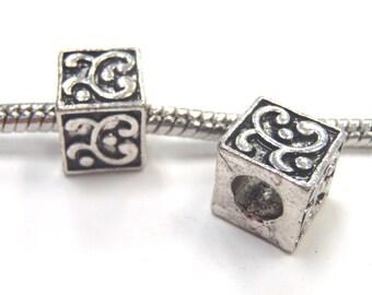 3 Beads - Scroll Cube Silver European Charm Bead E1130