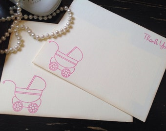Baby Girl Thank You Note Cards and Stationery Gift Sets