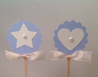 Baby Boy Cupcake Toppers Blue Heart Star Cupcake Food Candy Picks Labels-Birthday Cupcake Toppers