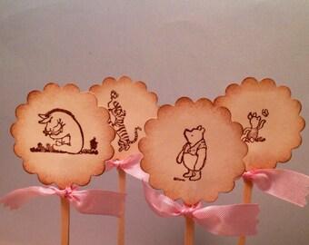 Winnie the Pooh Cupcake Topper-Pooh Cupcake Picks-Tigger, Eeyore, Piglet cupcake toppers-Wedding cake toppers-set of 12