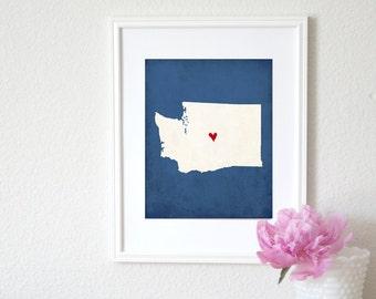 Washington State Art Silhouette Personalized Map Art 8x10 Print