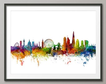 London Skyline, London Cityscape England, Art Print (1027)