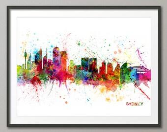 Sydney Skyline, Sydney Australia Cityscape Art Print (1049)