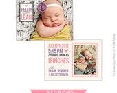 INSTANT DOWNLOAD  - Birth announcement template - Big sister- E276