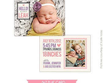 INSTANT DOWNLOAD  - Birth announcement template - Big sister- E276