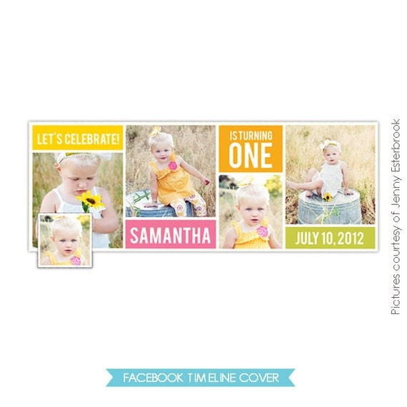 INSTANT DOWNLOAD - Photoshop template - First Birthday Facebook Timeline Cover - E392