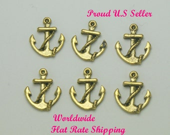 Anchor Floating Charm, 6 Charms, Antique Gold, Phone Case Supplies, gc046