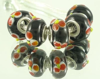 1 European Style Glass Beads Black With Red Flowers, 14 x 10 mm Large Hole Bead - ec210