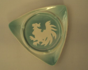 Vintage Rooster Green Airbrushed Stenciled  Restaurant Ware Triangular Ashtray