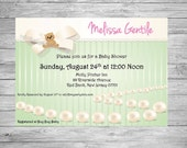 Set of 25 Baby Shower Invitations with Elegant Pearl and Bow Design