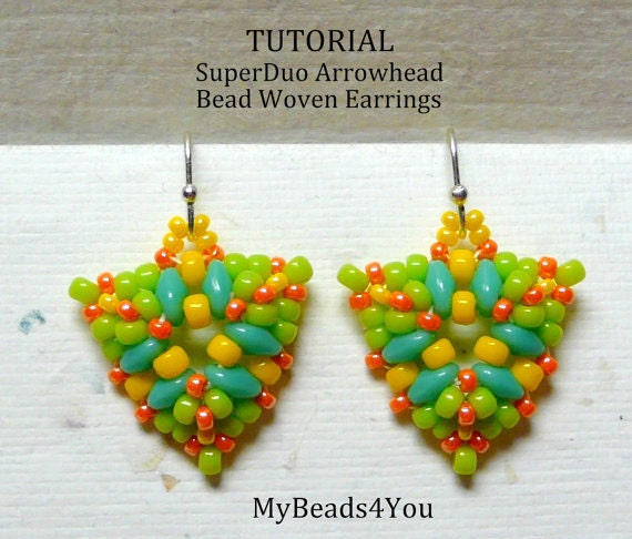 PDF Tutorial Bead Woven Earrings, Seed Bead Earrings, Earring Tutorial, Beadwork Tutorial, Beadwoven Earrings, Beaded Jewelry