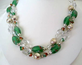 Green Bead Necklace  - Hand Painted Beads - Double Strand