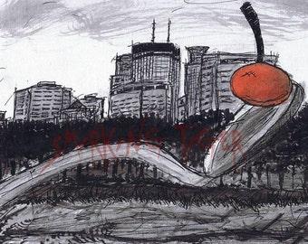Minneapolis Art Print: Twin Cities Cityscape featuring the Minneapolis Spoon Bridge and Cherry, 11X14
