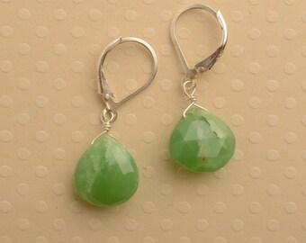 Green Chrysoprase  Earrings, Sterling Silver Earrings, Green Gemstone Earrings, May Birthstone, Healing Gemstone Jewelry
