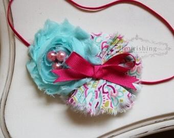 Aqua and Pink headband, summer headbands, aqua headbands, baby headbands, newborn headbands, photography prop